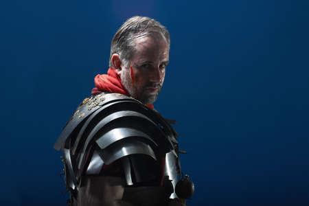 impressed: Studio portrait of roman soldier
