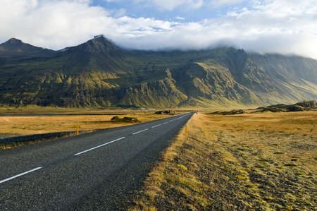 vacant land: Highway one and mountains,Southern Iceland