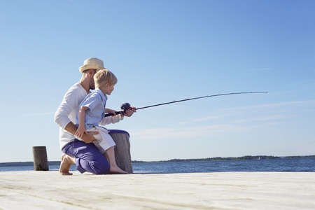 Father and son fishing,Utvalnas,Sweden