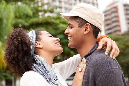 embraced: Young couple embracing,Rio De Janiero