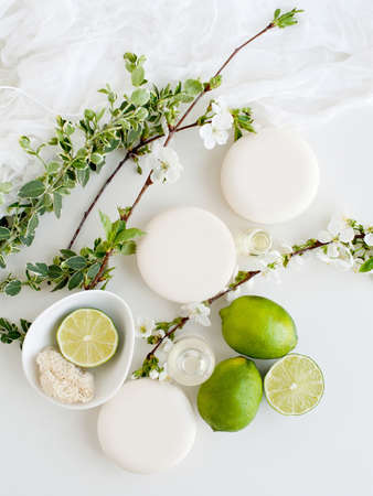 Aromatic still life with soaps,blossom and lime