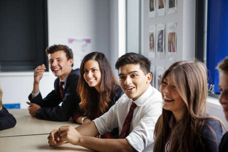 north western european descent: Teenage schoolchildren sitting at desks in classroom
