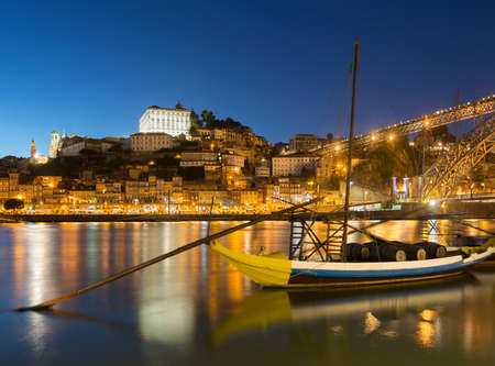 Rabelo boat on river Douro at night,Porto,Portugal LANG_EVOIMAGES