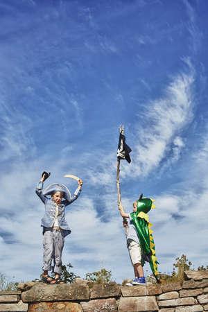Two boys dressed up,one holding pirate flag,Eggergrund,Sweden