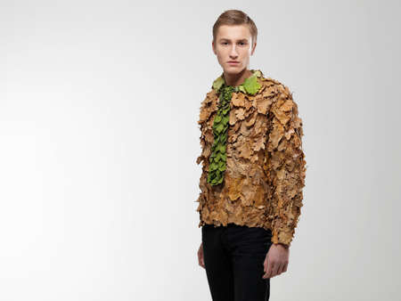 resourceful: Man wearing shirt and tie made from leaves