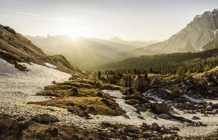 Mountain valley at sunrise,Valparola,Alta Badia South Tyrol,Italy LANG_EVOIMAGES
