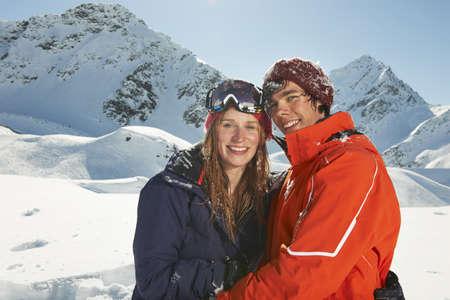 Couple wearing skiwear,Kuhtai,Austria LANG_EVOIMAGES
