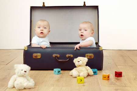Two baby boys sitting in suitcase, portrait
