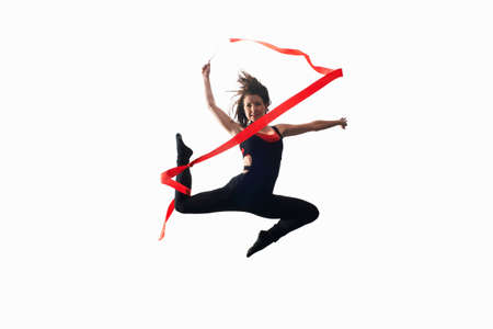 spandex: Dancer with ribbon on white background