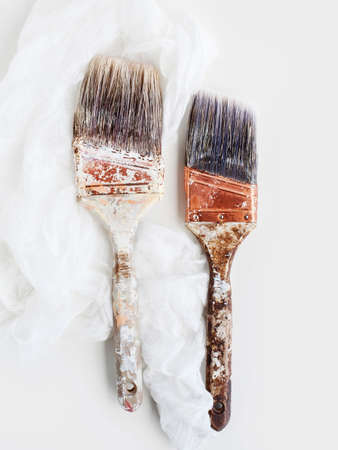 Still life of two old decorating brushes