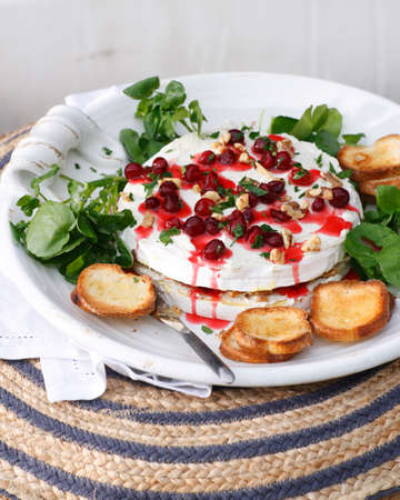 tempted: Brie and cranberry cheesecake with toast and cranberry coulis