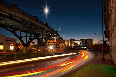 shutter: Traffic on street through city at night, long exposure