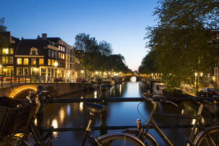 traditionally dutch: Canals at night,Jordaan,Amsterdam,Netherlands LANG_EVOIMAGES