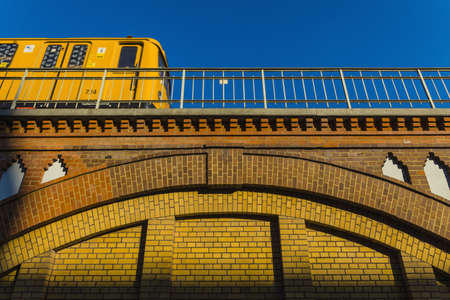 Low angle view of train on bridge,Berlin LANG_EVOIMAGES
