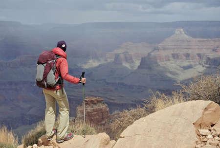 flagstaff: Female hiker viewing Grand Canyon,Flagstaff,Arizona,USA
