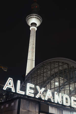 Alexander platz station and  television tower at night,Berlin,Germany
