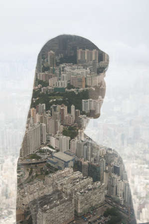 hopefulness: Businesswoman and Hong Kong cityscape,composite image