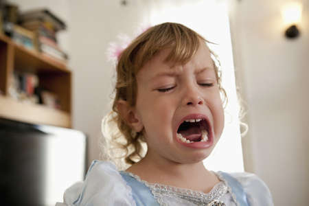 fed up: Close up of female toddler crying