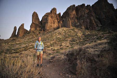 Female backpacker hiking,Apache Junction,Arizona,USA