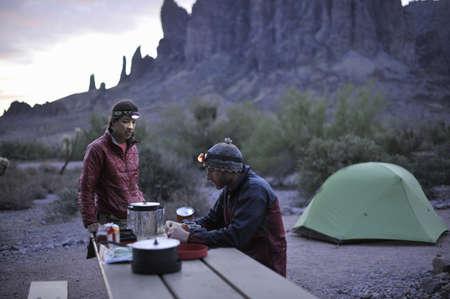 tallness: Backpacking couple camping,Apache Junction,Arizona,USA