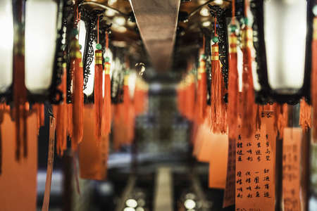 Close up of illuminated lanterns, Hong Kong, China LANG_EVOIMAGES