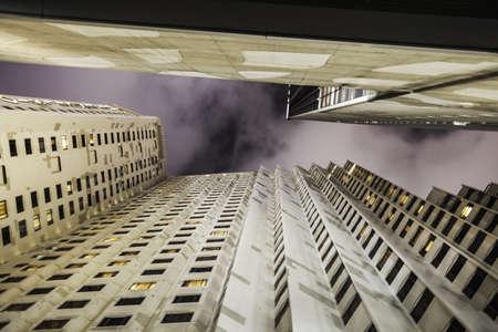 tallness: Low angle view of Hong Kong skyscrapers
