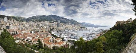 Panoramic view of coastline, Monte Carlo, Monaco