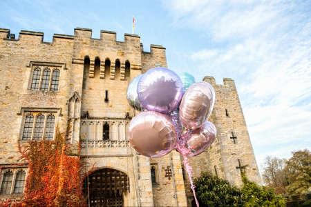 purples: Balloons, outside castle