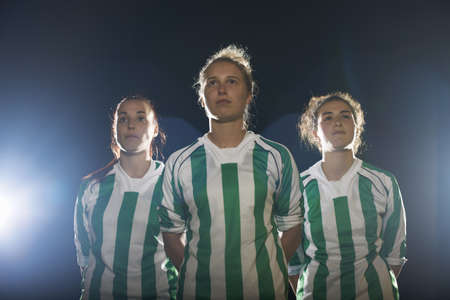Portrait of female soccer players