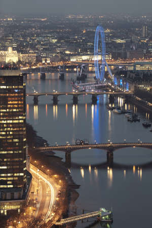 Aerial view of The Thames and London Eye at night,  London, UK LANG_EVOIMAGES
