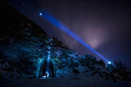 Jupiter and stars, Kettle Valley Rail Trail, Naramata, British Columbia, Canada