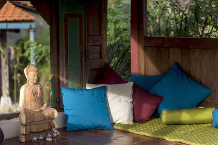 Stilt house holiday apartment, sitting room interior, Ubud, Bali, Indonesia LANG_EVOIMAGES