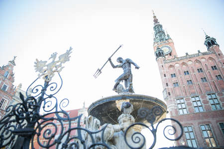 negative area: Low angle view of Neptunes fountain, Gdansk, Poland