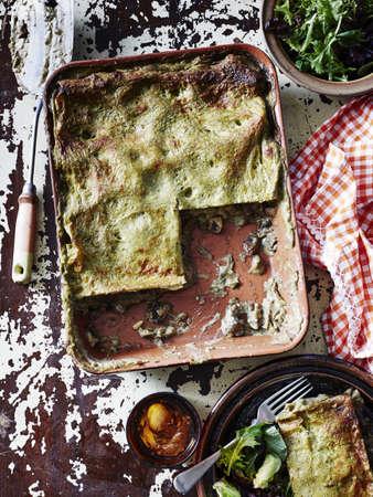 detoxing: Still life of mushroom pesto lasagne and salad