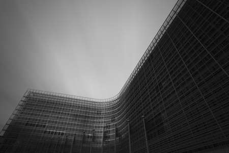 eec: Black and white image of the Berlaymont office of the European Commission, Brussels, Belgium