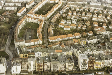 housing lot: Aerial view of suburban apartment blocks, Bremerhaven, Bremen, Germany LANG_EVOIMAGES
