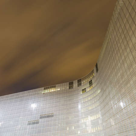 eec: The Berlaymont office of the European Commission at night, Brussels, Belgium