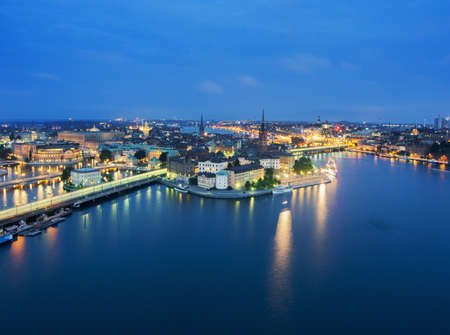 northern light: Waterfront and city lights at night, Stockholm, Sweden