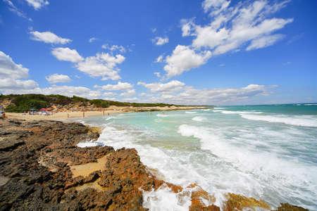 incidental people: Coastal scene, Ostuni, Brindisi, Puglia, Italy LANG_EVOIMAGES