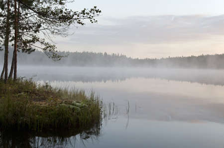 Lake view with mist, Somerniemi, Finland