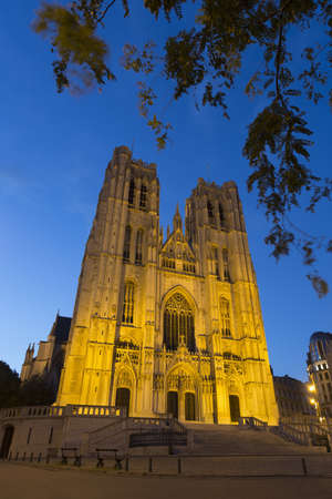 Cathedral of St. Michael and St. Gudula at night, Brussels, Belgium