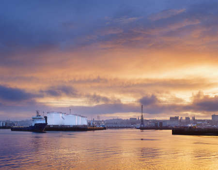 Oil or gas storage tanks, Aberdeen Harbour, Scotland