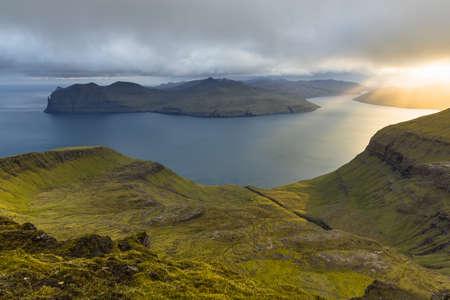 Sornfelli, Vagar islands in background, Faroe Islands, Denmark