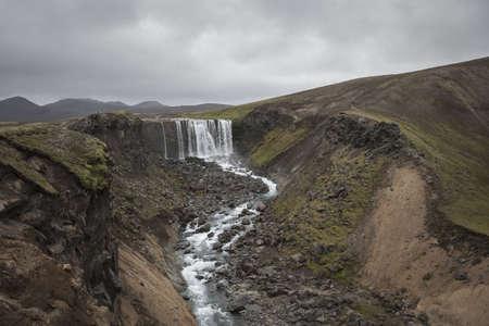 Waterfall, Fjallabak, Highlands of Iceland LANG_EVOIMAGES