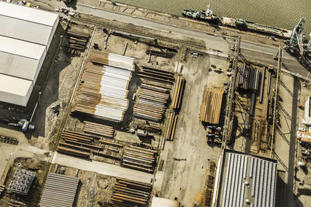 Aerial view of industry on harbour, Bremerhaven, Bremen, Germany