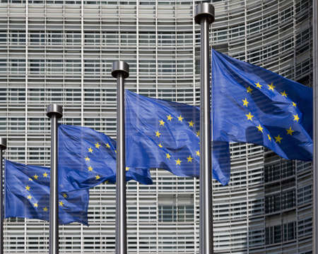European flags outside the Berlaymont office of European Commission, Brussels, Belgium LANG_EVOIMAGES