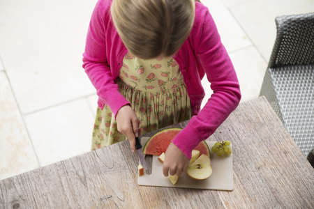 top 7: High angle view of girl at kitchen table slicing fresh fruit LANG_EVOIMAGES