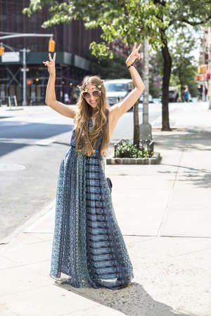 alice band: Funky woman in street, New York City, US