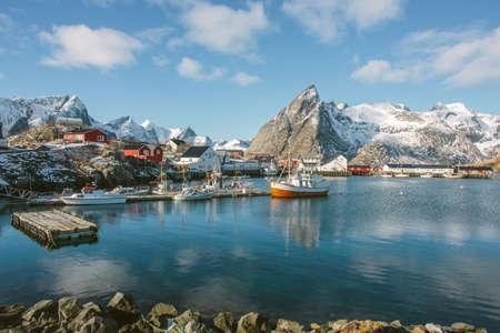 reflective: Cod fishing village, Lofoten, Norway LANG_EVOIMAGES