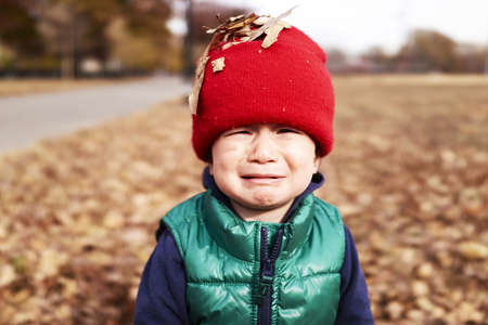 casual clothing 12 year old: Portrait of male toddler with autumn leaves on red knitted hat